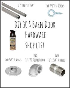 30$ Easy Sliding Barn Door Hardware