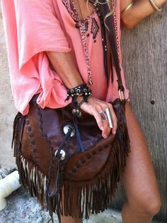 ☮ American Hippie Bohemian Style ~ Boho Leather Fringe Bag!