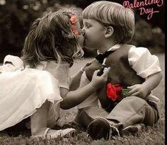 valentine's kiss | cute kids kiss valentines day rose | 4loveimages