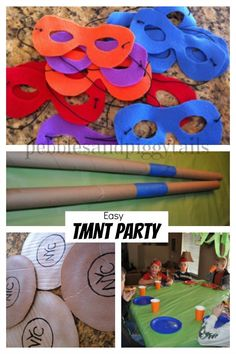 Easy Teenage Mutant Ninja Turtle birthday party ideas! TMNT games, masks, snacks, and gift bag ideas that are not hard at all.