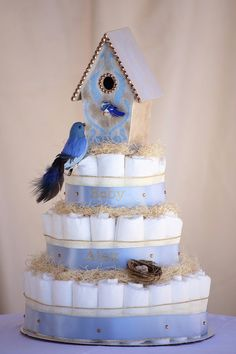 """The """"Welcome Tweetness"""" Whimsical Birdhouse Diaper Cake. Baby Shower Centerpiece or Gift. on Etsy, $90.00"""