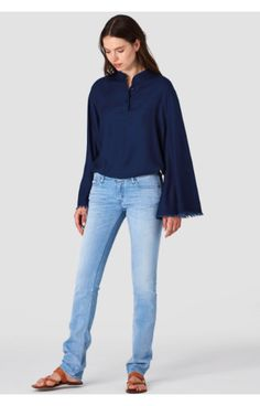 A low rise straight, Dido has been with us from the beginning. The fit is straight - slim on the thigh and straight from the knee down. sits It has a low rise and a sqaure top block. Ethical Clothing, Ethical Fashion, Summer Jumpers, Ethical Brands, Fashion Articles, Knit Skirt, Sustainable Fashion, Indigo