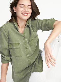 old navy olive green tencel® button down utility shirt