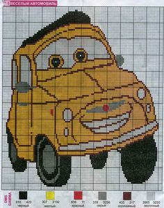 Disney Cars x-stitch Cross Stitch For Kids, Just Cross Stitch, Cross Stitch Baby, Counted Cross Stitch Patterns, Cross Stitch Designs, Cross Stitch Embroidery, Disney Cars, Stitch Toy, Crochet Car