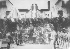 President Theodore Roosevelt stops at Burlingame Country Club on his way to San Francisco during a trip to California. May 12, 1903