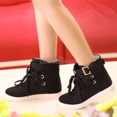 Concise #Comfortable High-Top #Lace-Up Women #Shoes With Buckle