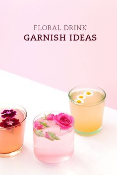 Floral drink garnish ideas, almost too pretty to drink.