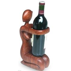 The Offering Hand Carved Suar Wood Wine Bottle Holder Wood Wine Bottle Holder, Wine Holders, Liquor Dispenser, Table Lamp Wood, Buy Wood, Wood Sculpture, Wood Carving, Wood Art, Wood Crafts
