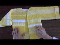 Chaqueta recta para niños tejida en dos agujas o palillos