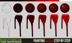 Painting Blood Step by Step by ConceptCookie.deviantart.com on @deviantART. not sure where to pin this but i guess this works.