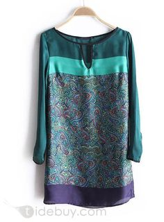 Handsome Split Joint Long Sleeve Floral Imprint Casual Dress