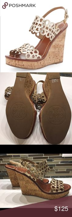 Tory Burch Nori Laser-cut Metallic Wedge size 7.5 Very gently used great condition Tory Burch cork heeled wedges in Platinum. So light and comfortable-they go with everything! Tory Burch Shoes Wedges