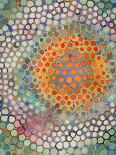 """Kitchen Aid Mixer – Experiment #1 ~ by Alicia Purdy. She says """"Various and irregular circles appear uniform when repeated. This was created by attaching a brush to a Kitchen Aid hand mixer and letting the machine """"do the work."""" What an interesting line of thought :-) #art #journal"""