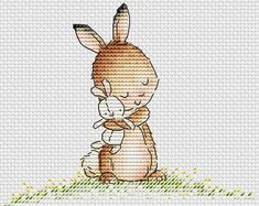 Bunny love pdf Cross Stitch Pattern Instant download PDF file Cute bunny cross stitch chart Baby bunny with bunny toy cross stitch pattern