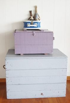 Painted pastel wooden boxes