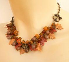 #Acorn jewelry  #Fallleaves  #Handmade Fall jewelry  by #insoujewelry, $71.00