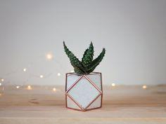 Mini Desk Planter Coworker Gift Geometric Planter by Waen on Etsy