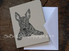 Zebra Print Bull Terrier Greeting Card by SaBeCards on Etsy, $5.00