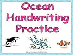 FREE Ocean-themed handwriting practice for lowercase printing!!