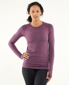 c11542ee894 Swiftly Tech Long Sleeve (heathered plum tonka stripe, size 10) Lululemon  Shirts,