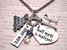 Personalized Half my heart is Deployed charm by MyTinyTemptations