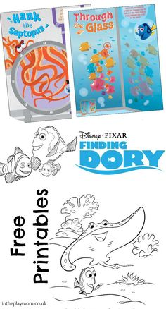 Finding Dory Colouring Pages and Activity Sheet Printables - In The Playroom Cartoon Coloring Pages, Colouring Pages, Printable Coloring Pages, Free Coloring, Coloring Pages For Kids, Coloring Books, Easy Easter Crafts, Fun Crafts, Crafts For Kids
