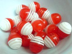 20x 12mm Resin Egg Shaped Oval Stripey beads in by CuteCornwall