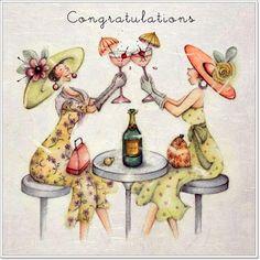 "Cards ""Congratulations"" - Berni Parker Designs ღ✟ Birthday Greeting Cards, Birthday Greetings, Facebook Birthday, Decoupage, Crazy Friends, Happy Birthday Wishes, Happy Brithday, Funny Cards, Congratulations"