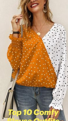 Polka Dot Blouse, Blouse Outfit, V Neck Tops, Chiffon, Blouses For Women, Long Sleeve Tops, Ideias Fashion, Clothes, Casual