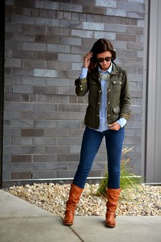 jacket + oxford + baubles.... in my wardrobe.... Ralph Lauren Cambray, with Military Jacket, skinnies and knee high boot