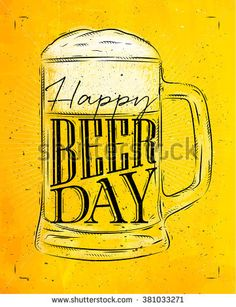 dessin biere: Poster beer glass lettering save water drink beer drawing in vintage style with coal on yellow paper background Surf Logo, Bar Image, Beer Day, Beer Poster, Save Water, Illustrations, Drinking Water, Images, Photos