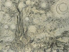 Van Gogh Starry Night Drawing Shower Curtain by teyes - CafePress - Whirlpool Galaxy-Andromeda Galaxy-Black Holes Vincent Van Gogh, Van Gogh Zeichnungen, Van Gogh Drawings, Tree Drawings, Scientific Drawing, Observational Drawing, Whirlpool Galaxy, Andromeda Galaxy, Stars At Night