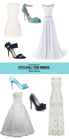 Blue and White Wedding Ideas - How to Showcase Blue Shoes for your Wedding Day Look || Kiss My Tulle