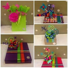 Bright and cheerful Present Wrapping, Creative Gift Wrapping, Creative Gifts, Craft Gifts, Diy Gifts, Decorated Gift Bags, Fancy Bows, Gift Wraping, Gift Bows