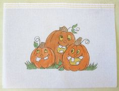 Goofy Pumpkin Family  Handpainted Needlepoint Canvas *Is This Your Family?  :-)…