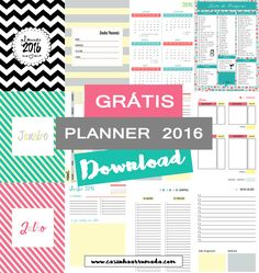 Planner 2016 para imprimir (grátis) - Free Printable Planner 2016 Mais