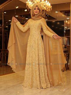 Hare Evening Dress - Gold - Pinar Sems