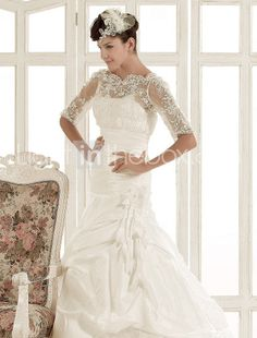 Lace sleeve jewel neckline taffeta wedding dress
