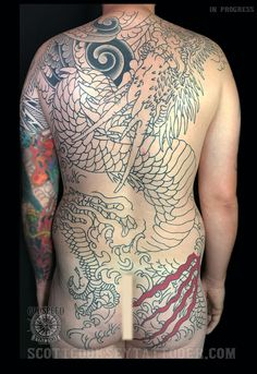 traditional Japanese dragon, waves, wind, flames, water back piece tattoo in progress by scott cooksey of lone star tattoo in dallas, texas and godspeed tattoo in breckenridge, colorado. @scottcookseytattooer