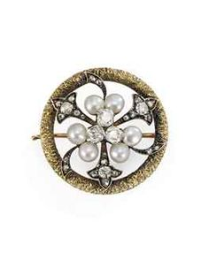 A DIAMOND AND PEARL TWO-COLOUR GOLD BROOCH   UNKNOWN MAKER, ST PETERSBURG, 1880s   Circular, the centre cast and chased as branching diamond-set flowers, set with three diamonds flanked by six pearls in the centre, within a worked yellow gold band, rose gold pin.