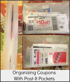 Organizing coupons with Post-It Pockets -- what I take to the store with me and a super simple system.