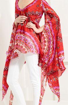 Emilio Pucci Flare Sleeve Print Silk Tunic