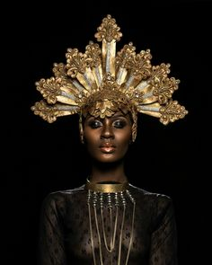 possible good headpiece IF it supported feather fans. Destiny Owusu Photographed by Oye Diran Photographer: Model: Stylist: Mua: African Beauty, African Fashion, African Makeup, Foto Fantasy, Or Noir, Mode Inspiration, Woman Inspiration, Makeup Inspiration, Black Is Beautiful