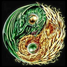 Green Dragon, Yellow Phoenix, gold, jewel, yin yang, cool; Dragons