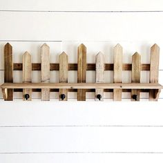 WOODEN PICKET FENCE WALL SHELF