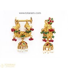 Makarakundanalu - 22K Gold Hoop Earrings with Ruby , Emerald , Beads & Pearls - 235-GER2673 - Buy this Latest Indian Gold Jewelry Design in 11.800 Grams for a low price of $748.05 Gold Jhumka Earrings, Gold Chandelier Earrings, Gold Earrings Designs, Indian Earrings, Gold Drop Earrings, Jewellery Earrings, Hoop Earrings, Indian Gold Jewellery Design, Gold Temple Jewellery