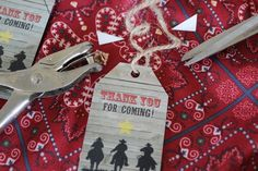 Cowboy Themed Thank You Gift Tag for Party Favors - I designed this for my son's 1st birthday party.  The free printable & instructions are available on my website.