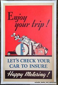 c1950 Stunning Car Travel Insurance Original Vintage Auto Advertising Poster