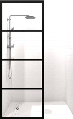 Gridscape Industrial Fixed Glass Shower Screen in Black Frame – divided STYLE Industrial Bathroom, Wood Bathroom, Small Bathroom, Bathroom Showers, Bathroom Ideas, Bathroom Pictures, Bathroom Renovations, Bathroom Storage, Modern Bathroom