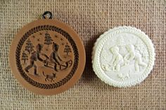 Springerle Father and Son Sledding cookie mold 1214